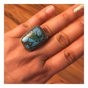 Copper Turquoise & Silver Ring, Size 7.5
